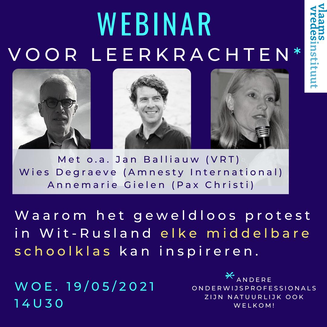 Webinar voor leerkrachten & onderwijsprofessionals: Waarom het geweldloos protest in Wit-Rusland elke Vlaamse, middelbare schoolklas kan inspireren.